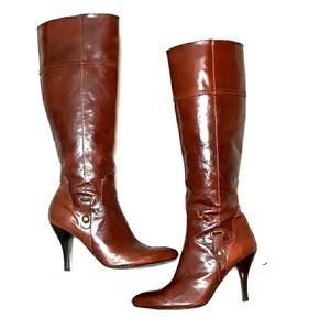 Nine West tall leather brown heeled boots sz 6.5